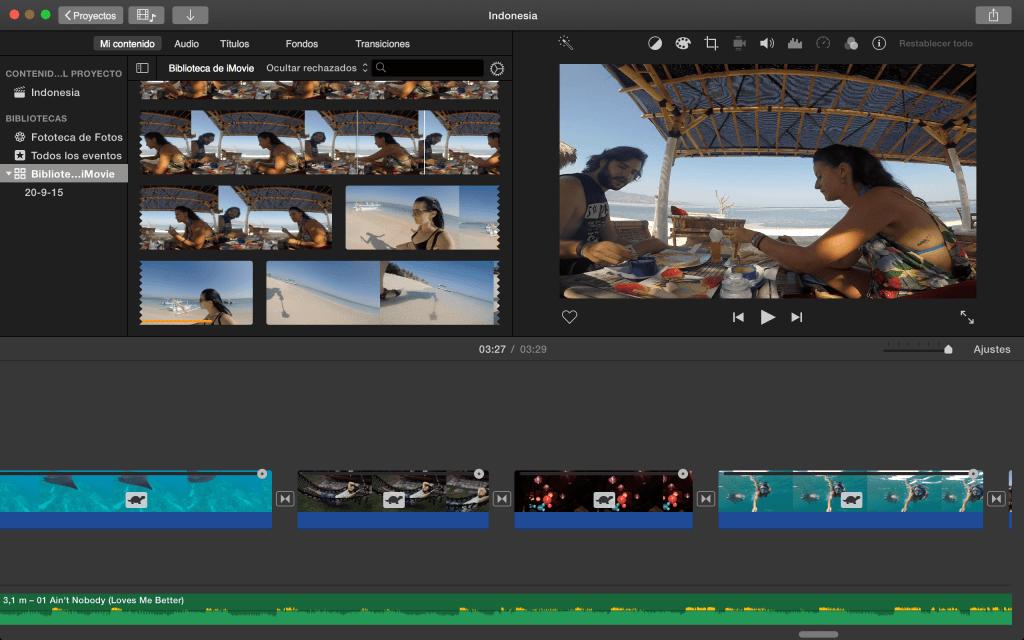 Captura de pantalla editando con iMovie
