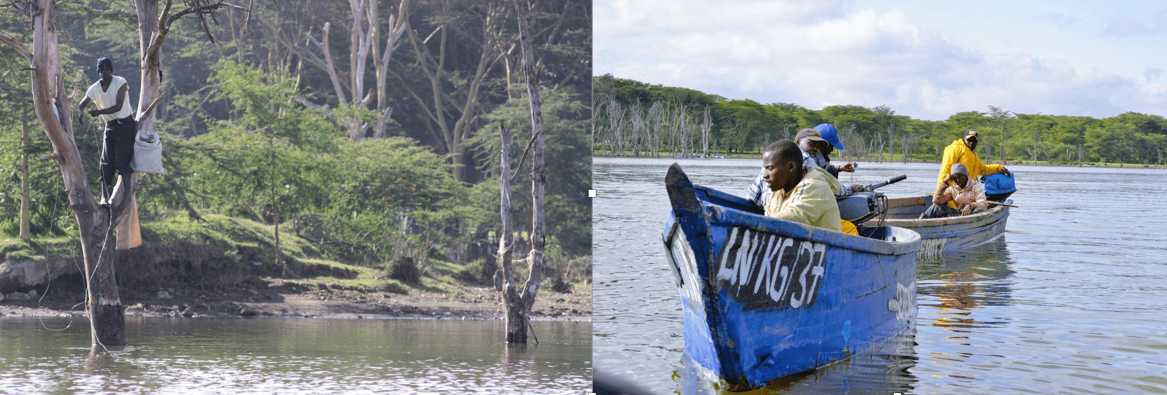 gente pescando lago Naivasha