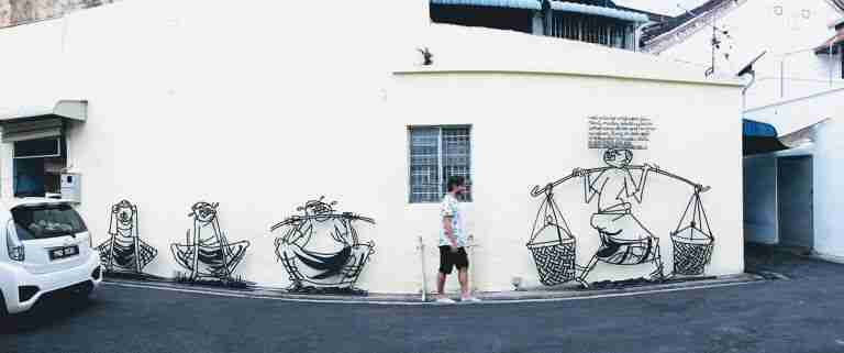 caminando por el street art de GeorgeTown de Penang, Malasia